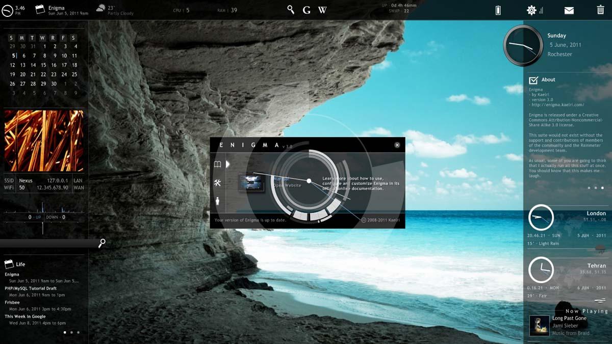 Enigma - Rainmeter Skin / Theme [Windows7/8/10]