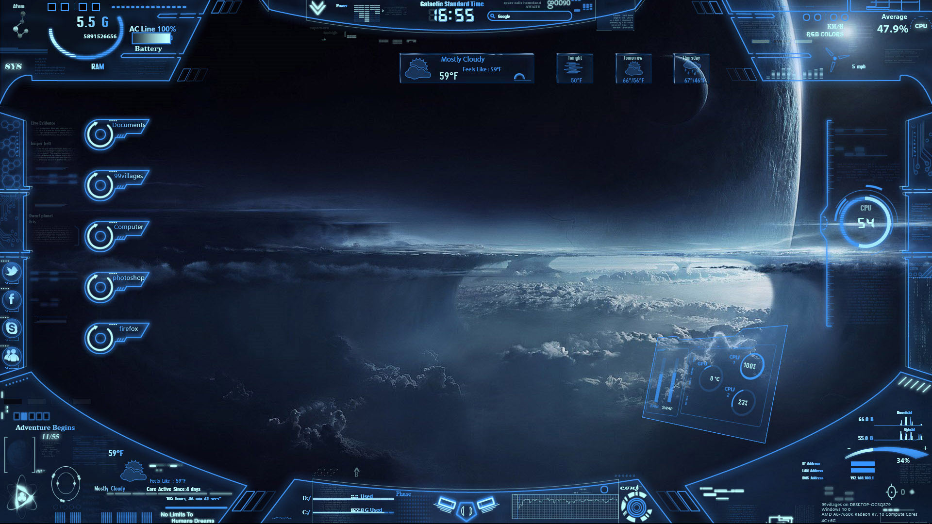 Neon Space Rainmeter Rainmeter skin & Theme [windows 7/8/10]