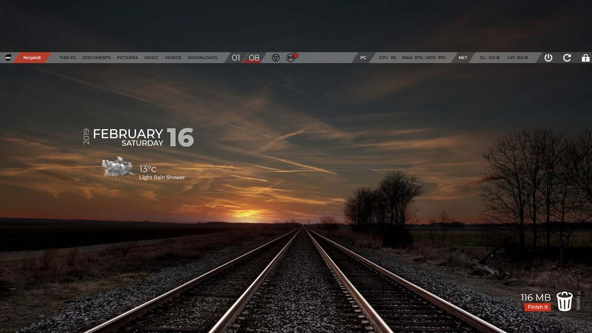 sticky Bar Rainmeter 1
