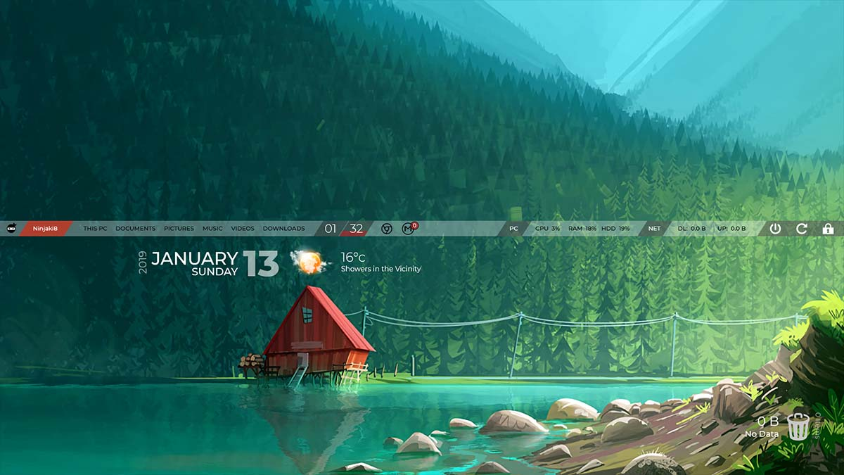 sticky bar rainmeter skin