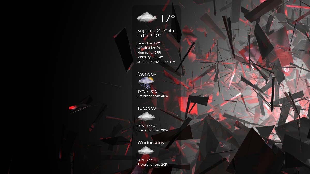 Tonxico weather rainmeter skin theme