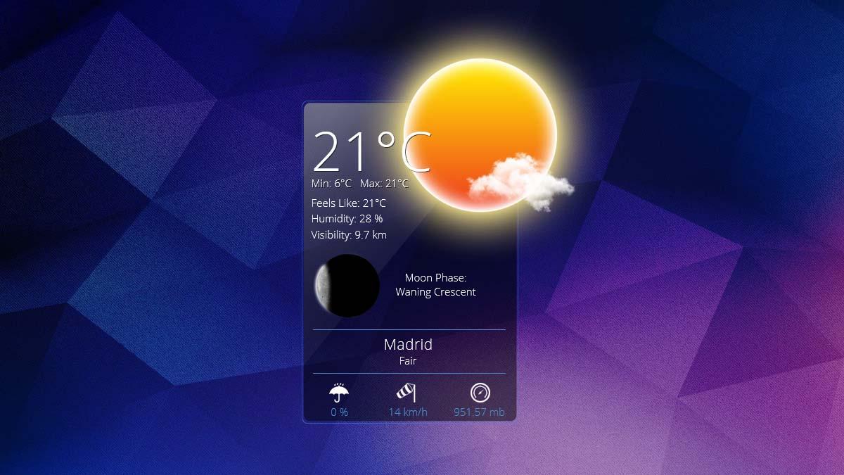 rainmeter weather app skin
